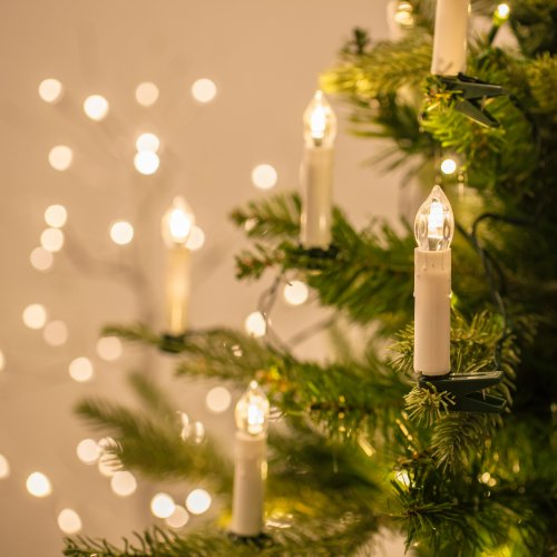 Warm White LED Christmas Candle Indoor Fairy Lights with Tree ...