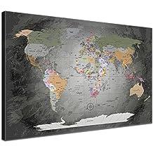 LanaKK Mapamundi - Mapa del mundo precioso gris, inglés, lámina sobre bastidor camilla en gris, enmarcado en una parte de 60 x 40 cm