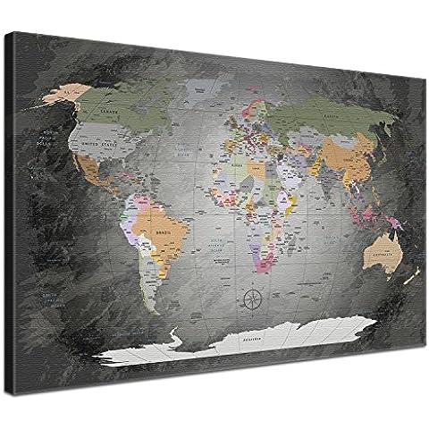 LanaKK® - mapamundi noble gris con corcho - versión Inglés, reproducción artística sobre lienzo premium en bastidor, tablón de notas para los trojoamundos, tamaño con bastidor tensado 120 x 80 cm, en una