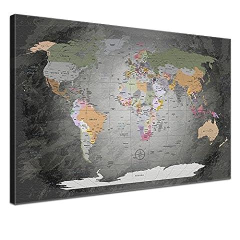 """LanaKK - Weltkarte Leinwandbild mit Korkrückwand zum pinnen der Reiseziele – """"Worldmap Edel Grau """" - englisch - Kunstdruck-Pinnwand in grau, einteilig & fertig gerahmt in 120 x 80 cm"""