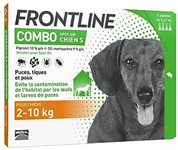 Frontline Combo Anti-Parasitaire Puce et Tique pour Petit Chien de 2-10 kg- 4 Pipettes