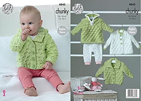King Cole Baby Chunky Knitting Pattern Raglan Sleeve Hoody Jacket & Matinee Coat (4845)