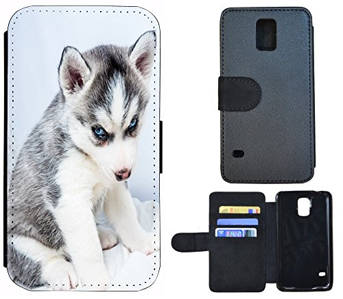 Flip Cover Schutz Hülle Handy Tasche Etui Case für (Apple iPhone 6 / 6s, 1138 Pinguin Blau Schwarz Animiert) 1135 Wolf Huski Tierbaby Grau Weiß