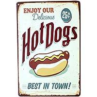 Hot Dog Signo Arte Del Cartel Casa Bar De Aperitivos Tienda De La Lata De Metal Decoración De La Placa De La Vendimia 05