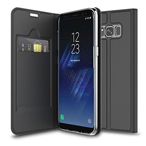 Verco Handyhülle für Galaxy Note 8, Premium Handy Flip Cover für Samsung Galaxy Note 8 Hülle [integr. Magnet] Book Case PU Leder Tasche, Schwarz