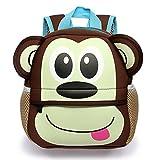 Ducomi® Zoolander - Simpatico Zaino Unisex in Neoprene per Bambini da 1 a 7 anni - Ergonomico, Leggero e 3D Design - Idea Regalo di Natale per Bambini e per i Più Piccoli - 25 x 24 x 9 cm (Monkey)