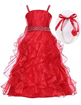 Happy rosa graduación Pageant y flores niña vestido largo