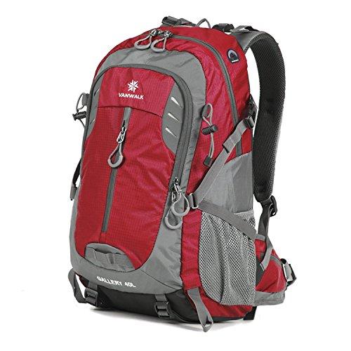 [40L Sac à dos ] Vanwalk Extérieure Ultra-Léger Sac à dos/Sac de Montagne/Rucksacks/Backpack/Sac étanche pour Sport Camping Randonnée Trekking Voyage (rouge)