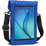 USA Gear 7 Inch Tablet Case Neoprene Sleeve Cover with Built-in Screen Protector & Carry Strap - Compatible with Samsung Galaxy Tab A2 S / Tab A / Tab S2 / Tab E / Asus ZenPad S - Blue