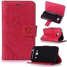Beiuns Funda de PU piel para Samsung Galaxy J1 (4,3 pulgadas) Carcasa - R155 rojo pasión