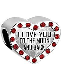 """Dije para pulsera de Uniqueen, diseño con el texto en inglés: """"I love you to the moon and back"""""""