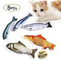 LIZHIGE Spielzeug mit Katzenminze 5 Stück Katze Interaktives Spielzeug Katze Fisch Spielzeug Plüsch Katze Kauen Spielzeug Set für Katze/Kitty/Kätzchen