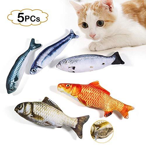 WELLXUNK Spielzeug mit Katzenminze 5 Stück Katze Interaktives Spielzeug Katze Fisch Spielzeug Plüsch Katze Kauen Spielzeug Set für Katze/Kitty/Kätzchen