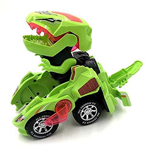 Kinder transformiert Dinosaurier Roboter Auto elektronische Dino Roboter Fahrzeug Auto Spielzeug Batterie mit LED-Licht Musik (grün)