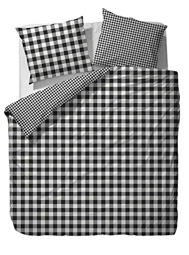 Marc O'Polo Kellig Duvet Cover Flanell Bettwäsche, 200x200 + 2x 80x80, Black (Karo-flanell-bettwäsche)