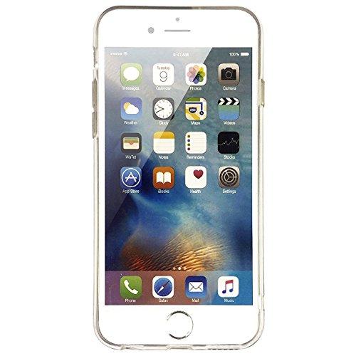 Cover iPhone 7, Cover iPhone 8, OFFLY Morbida Silicone Trasparénte Sottile (TPU) Protettiva Custodia, Creativo Stampa Protezione Cover Case per Apple iPhone 7 / 8 - Foglie Tropicali Ananas