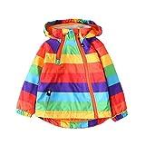 Selou Kinderjacke Winter Kinderbekleidung Junge Jacke Jacke im Freien Langer Ärmel des Regenbogens Zip-Strickjacke Plus Samt warme Windjacke Baby RegenmantelHoodie Pullover Daunenjacke
