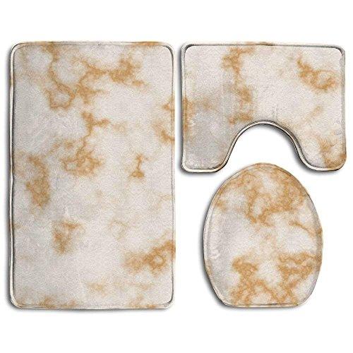Badteppich, 3-teiliges Badezimmer Teppich Set weiß gold marmor Print Nonslip Badezimmer Teppich, Badteppich, staubfrei, WC-Deckelbezug für Herren Damen Kinder, Badezimmer Teppiche, Badezimmer Zubehör (Herren-badezimmer Teppich)