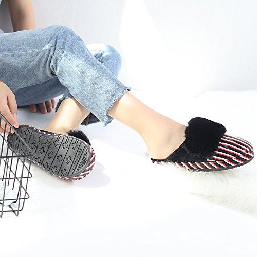 Inverno fankou piatto pantofole di cotone femmina - anti skid ispessimento degli elettrodomestici in casa e all'estero strisce impermeabili scarpe di cotone Grün