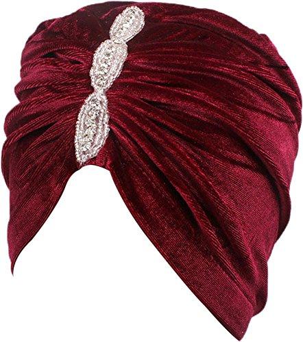 Ababalaya Damen Weich Gold Samt Strass Muslimische Turban Chemo Krebs Cap Nachtmütze in 6 Farben,Burgund (Burgund Samt Rot)
