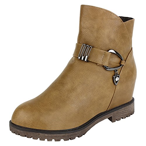 Authentic-Vogue-Womens-Ankle-Length-Trendy-Wedge-Heel-Camel-Colour-Leather-Boots