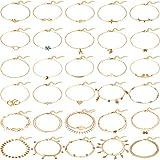 30 Stücke Damen Fußkettchen Armbänder Boho Fußkettchen Ketten Fußschmuck Einstellbare Set für Strand Partys und Tanz Partys (Gold)