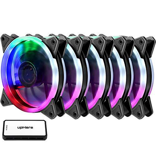 upHere RGB LED Gehäuselüfter 120mm High Airflow Lüfter mit Controller und Hub, 5er-Pack (RGB123-5)