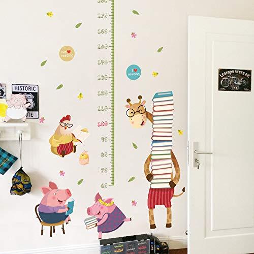 YKLOPI Höhe Messung Kinder Wandaufkleber Für Kinderzimmer Schlafzimmer Wandtattoos Giraffe Schwein Huhn Tier Wohnkultur