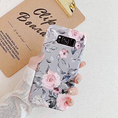 Herbests Kompatibel mit Samsung Galaxy S8 Plus Hülle Silikon Handyhülle Mode Blätter Blumen Muster Ultra dünn Weich TPU Silikon Mode Tasche Schutzhülle Bumper Kratzfeste Hülle,Grau Blume