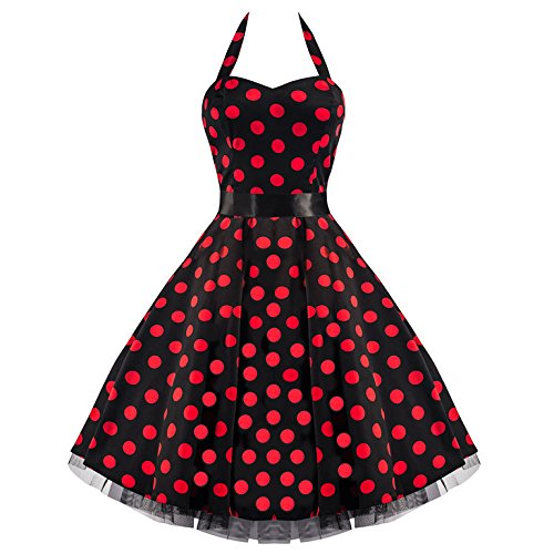 Pretty Kitty Fashion 50s Groß Rot Polka Dot Schwarz Weiß Neckholder Cocktail Kleid XXL