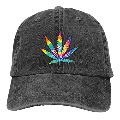 Hoswee Unisex Kappe/Baseballkappe, Weed Leaf Tie Dye Men/Women Fashion Adjustable Baseball Cap Jeans Back Closure Hat
