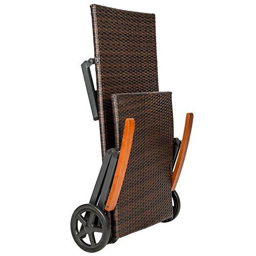 tectake aluminium polyrattan rollliege mit armlehne sonnenliege entspannter alltag. Black Bedroom Furniture Sets. Home Design Ideas