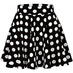 QinMM Falda cóctel Estampado a Lunares para Mujer, Falda Mini Fiesta Alta Cintura Vestir (M, Negro)
