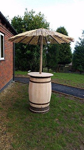 Whiskey Barrel-Tavolino in legno di quercia con rimovibile per ombrellone,