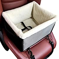 YOUJIA Foldable Dog Cat Car Booster Seat Bag Carrier Tote Pet Bed Car Seat Carrier with Fleece Liner Puppy Travel Cage (Gray, 40 * 30 * 20cm)