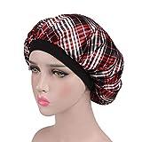 ZYCC Wide Band Satin Cap Sleep Bonnet, Sleeping Hat Cancer Hat Chemo Hat Fit Women for Sleeping/Cancer/Chemo/Hair Loss (Lattice)