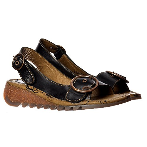 Fly London Tram Nero Oro Donna Pelle Slingback Sandals Scarpe  Black
