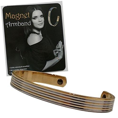 Elegantes Bicolor Energie Magnetarmband Magnetarmreif Magnet Armband Armreif Magnetschmuck mit 2 starken Magneten 1400 Gauss