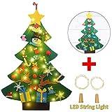 OFUN Feltro Albero Natale, Albero di Natale, Bambini Regali di Natale con 26 Pezzi Decorazioni & 2 Luce Bottiglia per la Decorazione della Parete di Natale