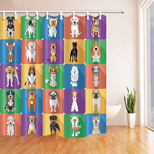 GoHEBE Cortina baño diseño animales mascotas dibujos