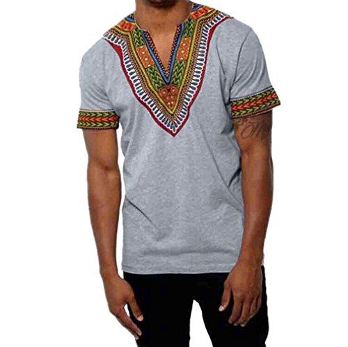 OVERDOSE Mode Männer Slim Fit V-Ausschnitt Afrikanischen Gedruckt -