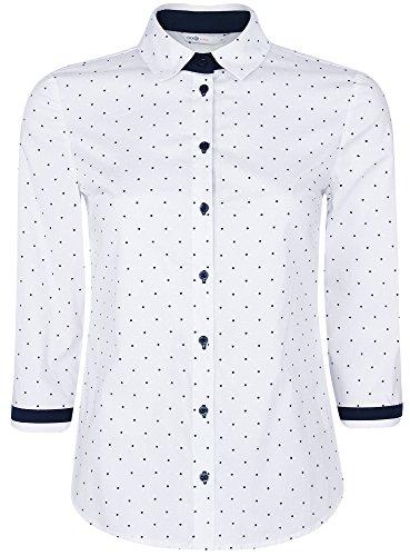 oodji Ultra Femme Chemise en Coton Manche 3/4 Blanc (1079D)