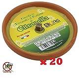Confezione Risparmio 20 X Fiaccola Candela Aroma Citronella Cocci in Terracotta Diametro 17cm Antizanzare