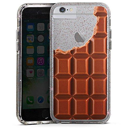 Apple iPhone 6s Plus Bumper Hülle Bumper Case Glitzer Hülle Transparent mit Motiv Schokolade Essen Bumper Case Glitzer rose gold