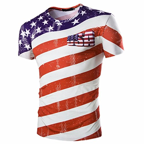 QIYUN.Z Stars And Stripes USA Flagge-Druck Männer Kurzarm T-Shirts T-Stücke (Independence Day T-shirts)