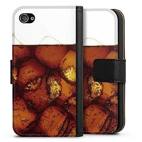 Apple iPhone X Silikon Hülle Case Schutzhülle Cola Getränk Eiswürfel Sideflip Tasche schwarz