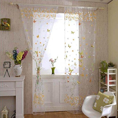 Bigfamily ventana cortina de Voile Bufanda mariposa pura oferta cenefas decoracion del hogar