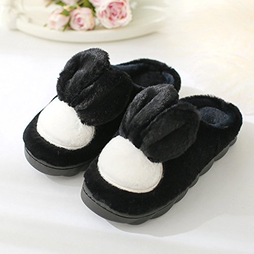 DogHaccd pantofole,Pantofole di cotone di spessore, pavimento antiscivolo indoor autunno inverno silenzioso home soggiorno nella bella donna pantofole scarpe caldo Nero4