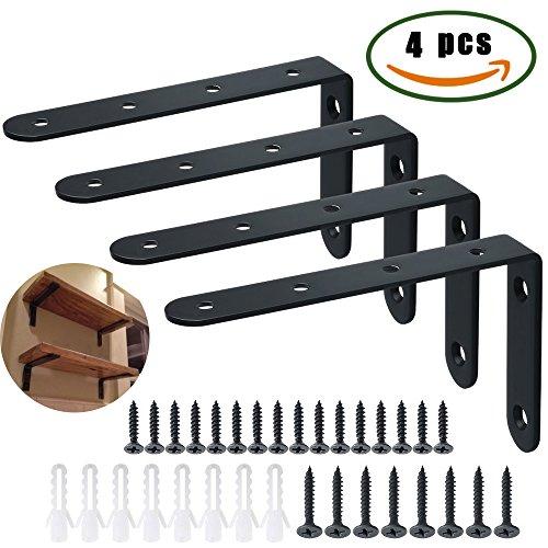 Corner Brace Dayree Soporte de ángulo 90 Grado forma de L 4pcs soporte de esquina 126 x 80 x 3mm espesar soporte para estante de carga pared colgantes con 24 pcs tornillos y 8 pcs anclajes. Negro