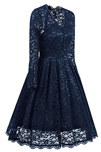 NALATI Women Vintage Long Sleeve V Neck Floral Print Party Cocktail Dress (S, Navy Blue)